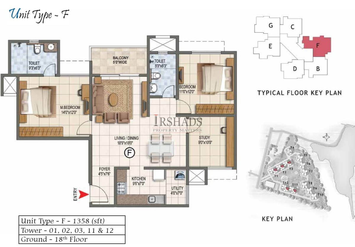 Type F - 2 Bedroom + Study