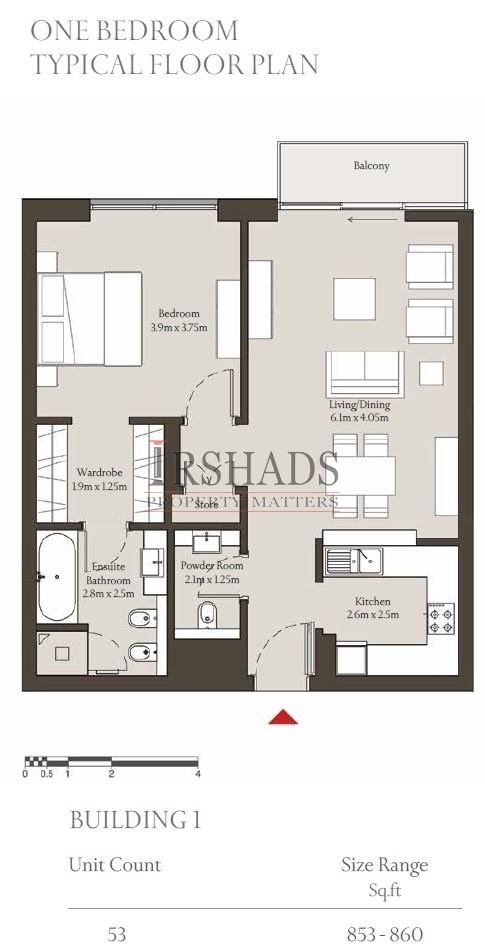 Sobha Hartland - Apartments - 1 Bedroom Unit - Building 1 - Floor Plan - 860 sq. ft.