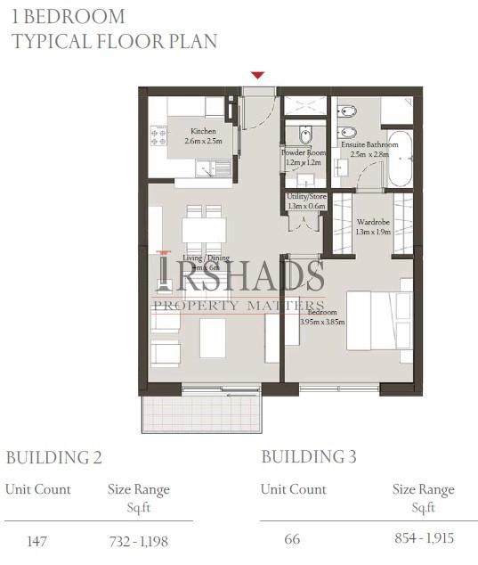 Sobha Hartland - Apartments - 1 Bedroom Unit - Building 3 - Floor Plan - 854 sq. ft.