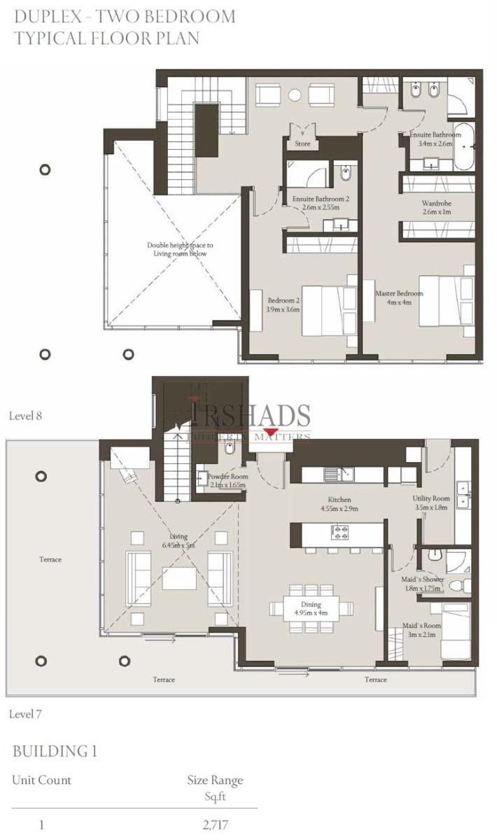 Sobha Hartland - Apartments - 2 Bedroom Duplex Unit - Floor Plan - 2717 sq. ft.