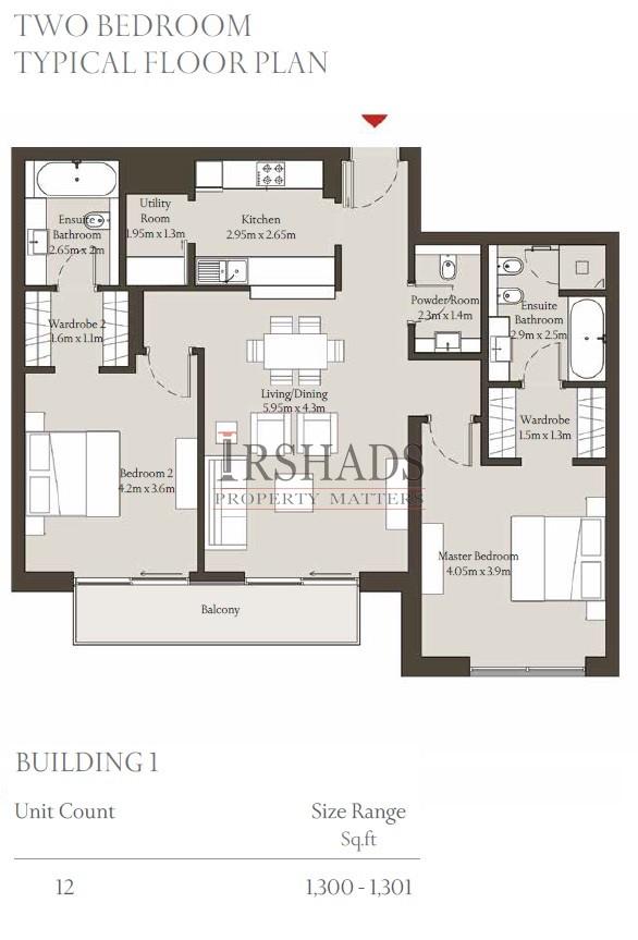 Sobha Hartland - Apartments - 2 Bedroom Unit - Floor Plan - 1300 sq. ft.
