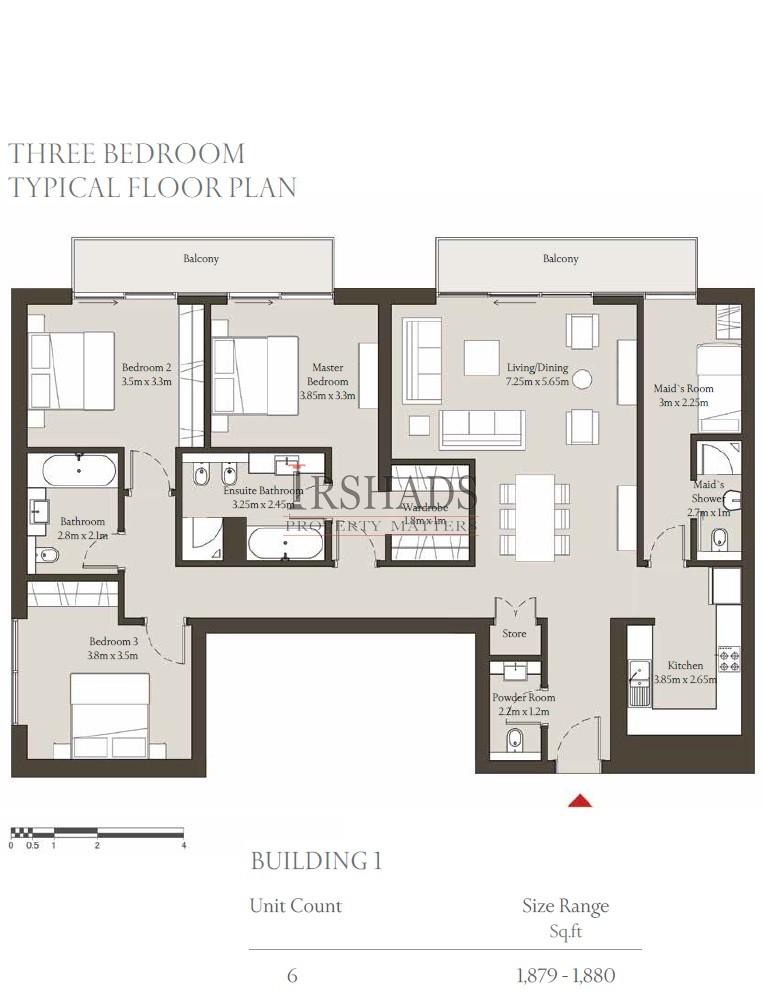 Sobha Hartland - Apartments - 3 Bedroom Unit - Floor Plan - 1880 sq. ft.