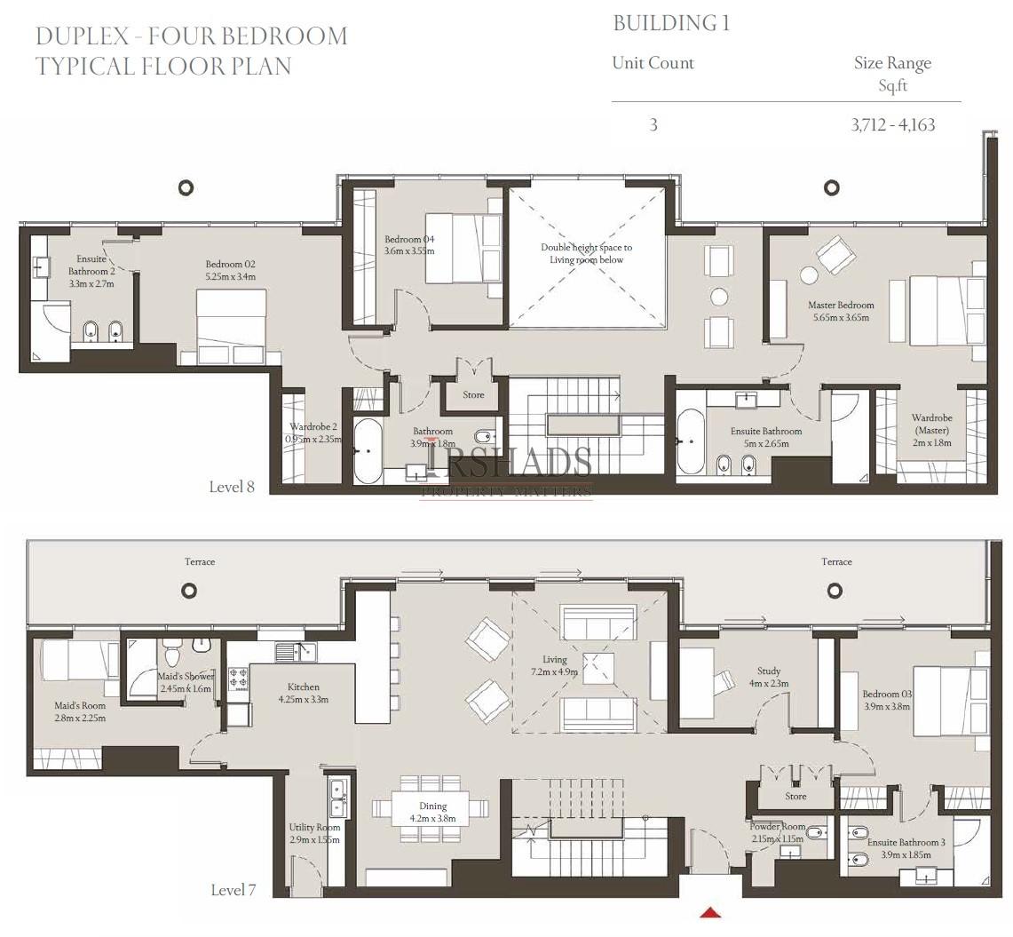 Sobha Hartland - Apartments - 4 Bedroom Duplex Unit - Floor Plan - 3712 sq. ft.