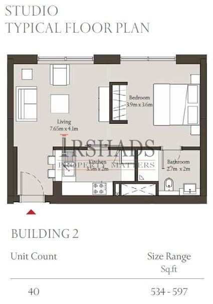 Sobha Hartland - Apartments - Studio Apartments - Floor Plan - 597 sq. ft.