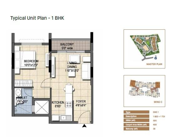 Typical Unit Plan - 1 BHK