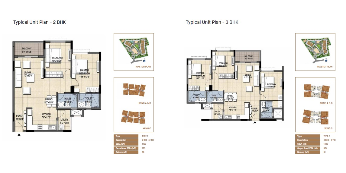 Typical Unit Plan - 2,3 BHK