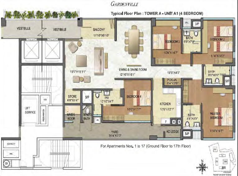 Typical Floor Plan - Tower A (4 Bedroom)