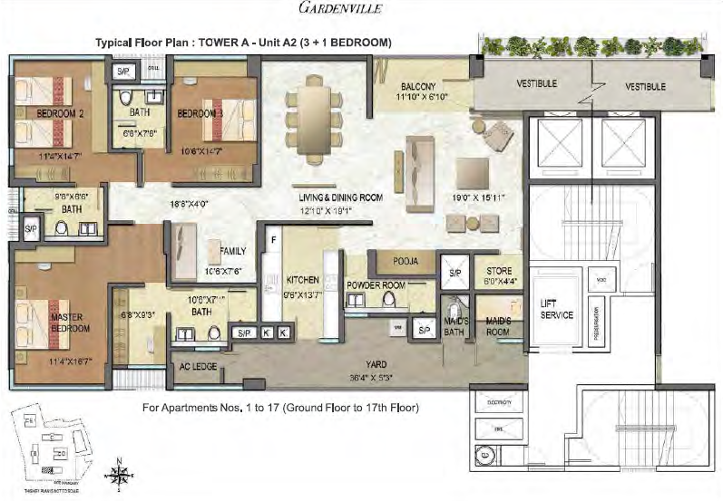 Typical Floor Plan - Tower A (3 Bedroom)